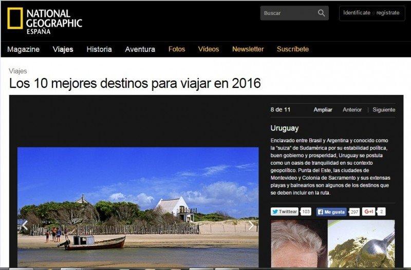 En la edición española de la revista Uruguay está octavo en una lista de 10 países.