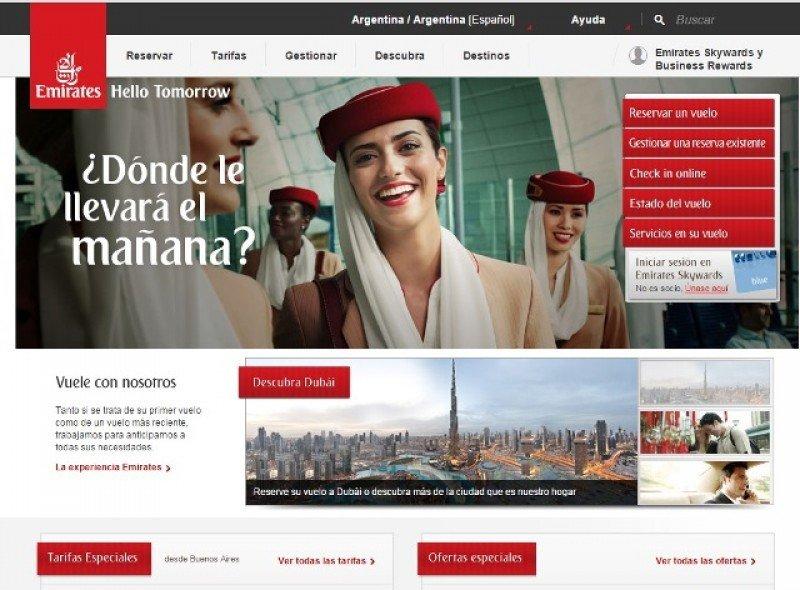 Emirates lanza web mobile exclusiva para Argentina