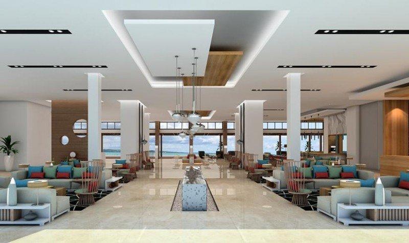 El lobby tiene vistas al acantilado de cinco metros sobre el que se asienta el hotel.