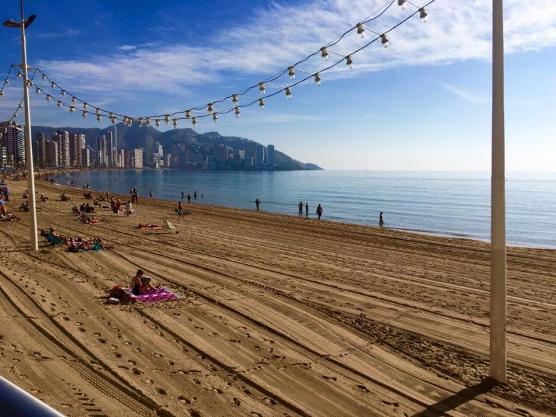 Imagen de la playa de Levante de Benidorm tomada el pasado 18 de noviembre. Foto: HOSBEC.