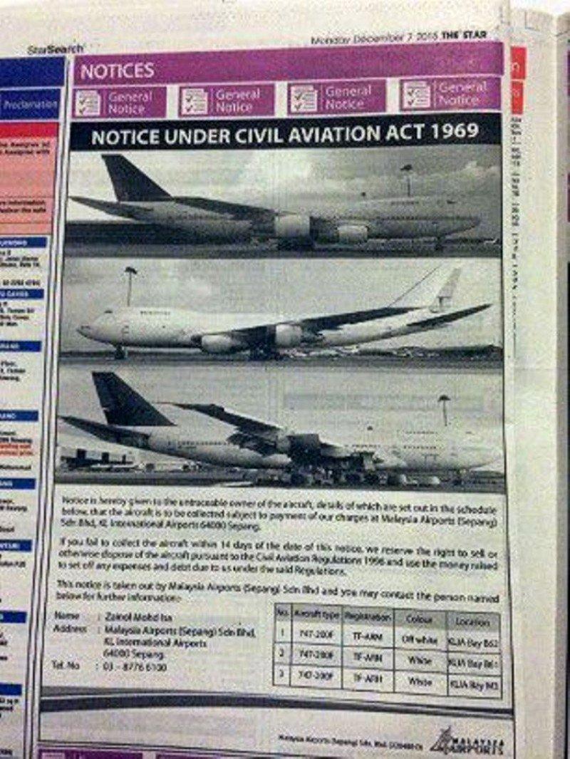 Uno de los avisos publicados en la prensa por los gestores del aeropuerto de la capital malasia.