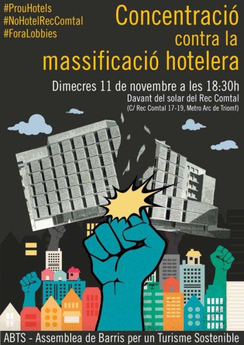 Cartel anunciando un acto de protesta contra la construcción de hoteles en Barcelona.