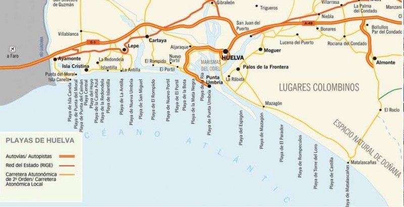Mapa: Guía de Playas del Patronato de Turismo de la Diputación de Huelva.