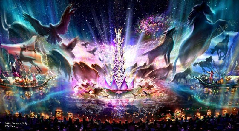 La atracción 'Ríos de luz' combinará música en vivo, linternas flotantes, pantallas de agua e imágenes de animales que giran.