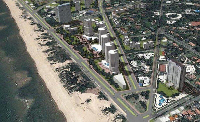 Maqueta del proyecto completo, con el hotel y otras cinco torres de hasta 20 pisos.