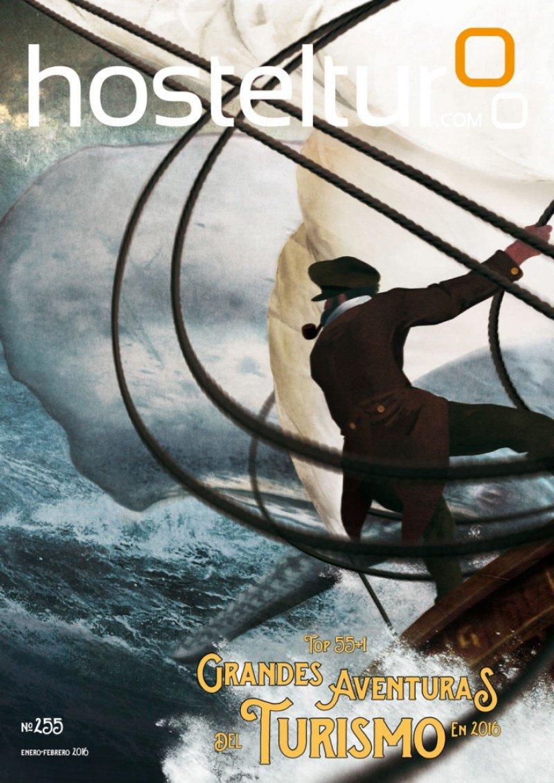 """La portada de la revista HOSTELTUR se inspira en los audaces marineros y barcos balleneros que el novelista Herman Melville retrató en """"Moby Dick"""". Nuestro tema de portada explica cómo se presenta el año 2016 para los profesionales y empresas turísticas que zarpan con rumbo a nuevas aventuras y mares por explorar."""