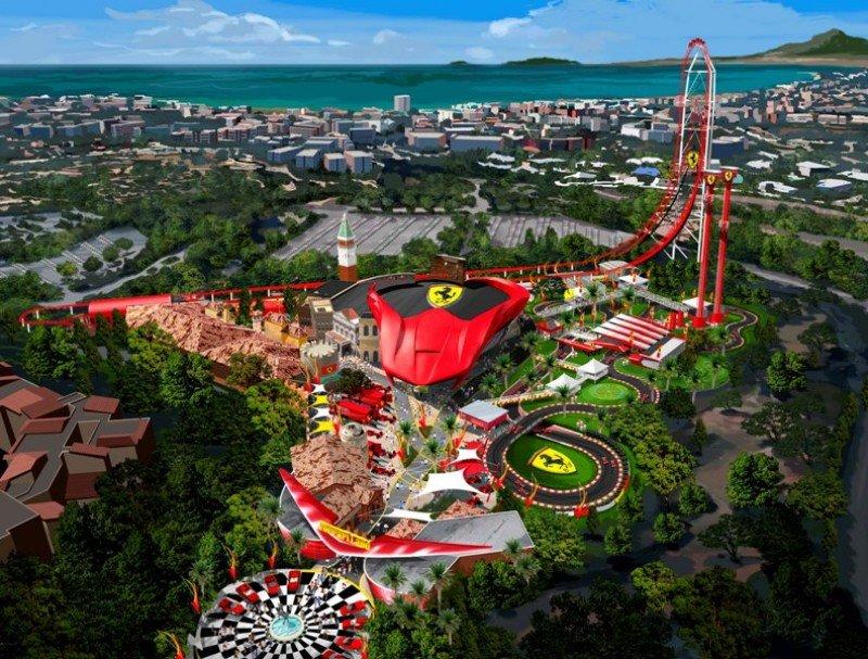 Imagen virtual que muestra cómo será Ferrari Land.