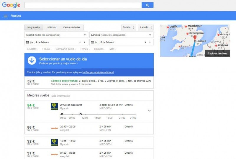 Búsqueda en Google Flights.
