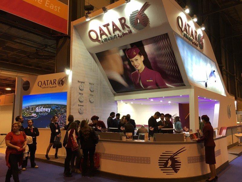 Stand de Qatar Airways en Fitur 2016.