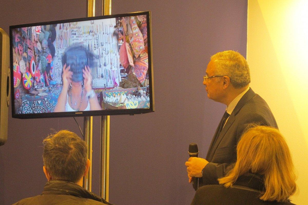 Durante la rueda de prensa, el ministro mostró un vídeo de la campaña de promoicón  #thisisegypt.