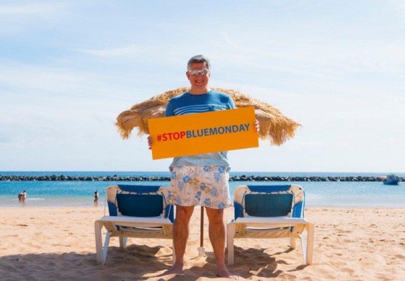 Cliff Arnall, creador del Blue Monday, en una imagen promocional de la campaña 'Stop Blue Monday' organizada por Promotur Turismo de Canarias.