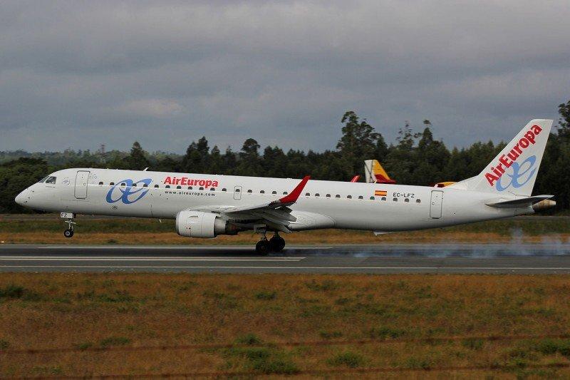 El Embraer 195 con el que Air Europa operará la nueva ruta a Zurich.