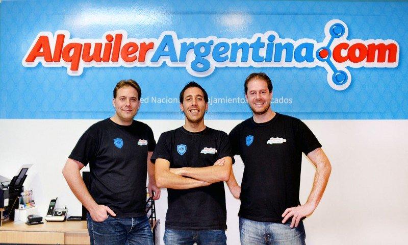 De izq a der: Eric Barbero, Mauricio Nicoletti y Adrian Giraudo, socios de AlquilerArgentina.com.