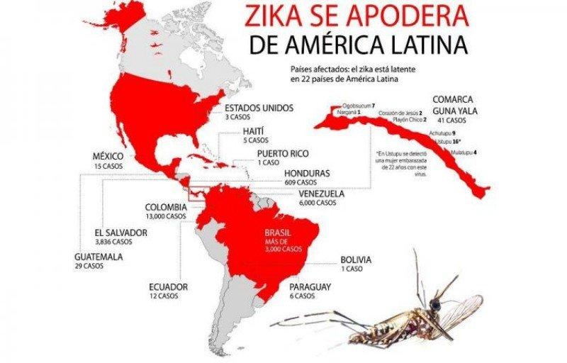 El Zika en Latinoamérica y el Caribe. Infografía: El Siglo.