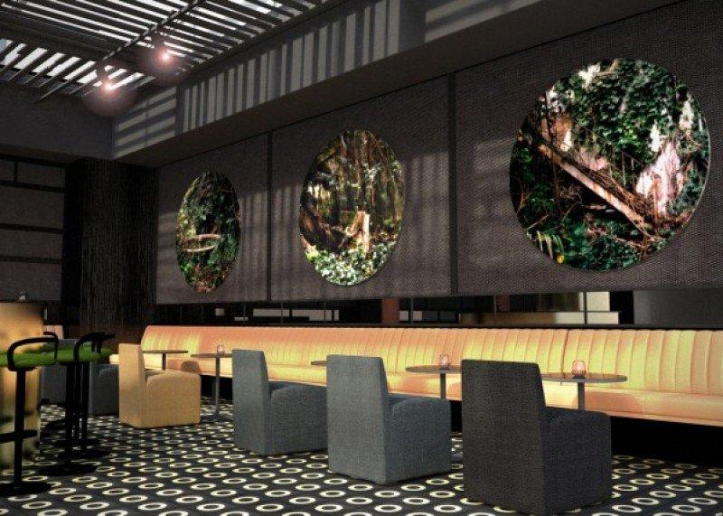 El bar de diseño del futuro hotel.