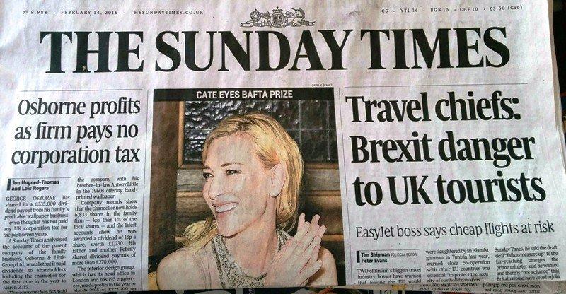 Portada del Sunday Times del domingo 14 de febrero de 2016.