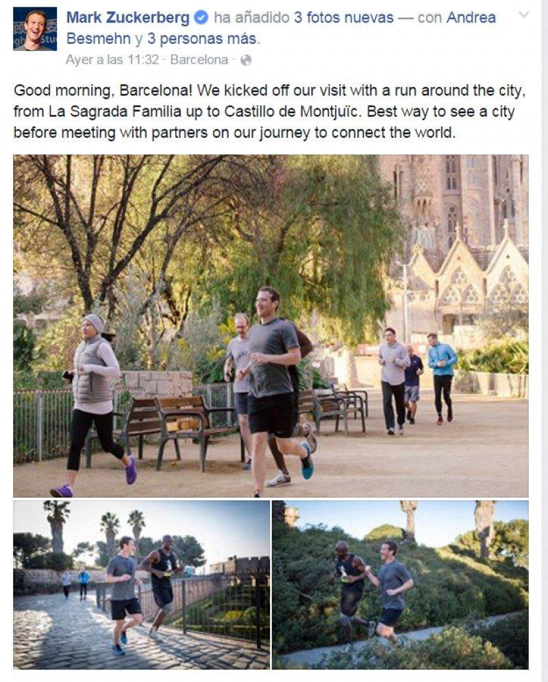 Mark Zuckerberg, haciendo ejercicio en Barcelona el fin de semana, antes de la inauguración del Mobile.