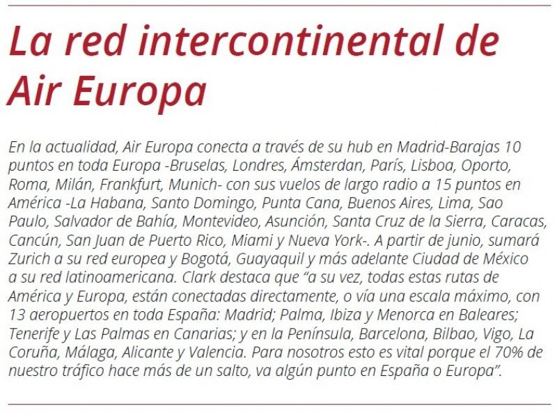 La red de largo radio de Air Europa.