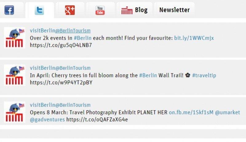 Tuits emitidos por la oficina de Turismo de Berlín.
