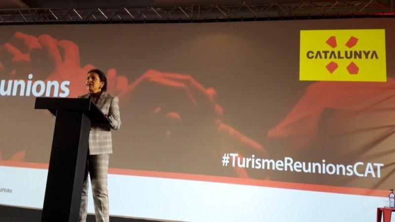 Marián Muro, directora general de Turismo de la Generalitat, en el foro celebrado ayer en el Palau de Congressos de Catalunya.