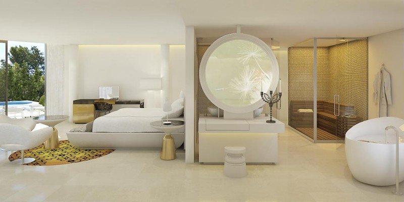 El interiorismo de Marcel Wanders contribuye a que el cliente tenga la sensación de dormir en un museo de arte moderno. En la imagen, la Spa Suite, con sauna privada.