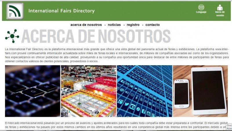 Web de International Fairs Directory, con sede en Montevideo.
