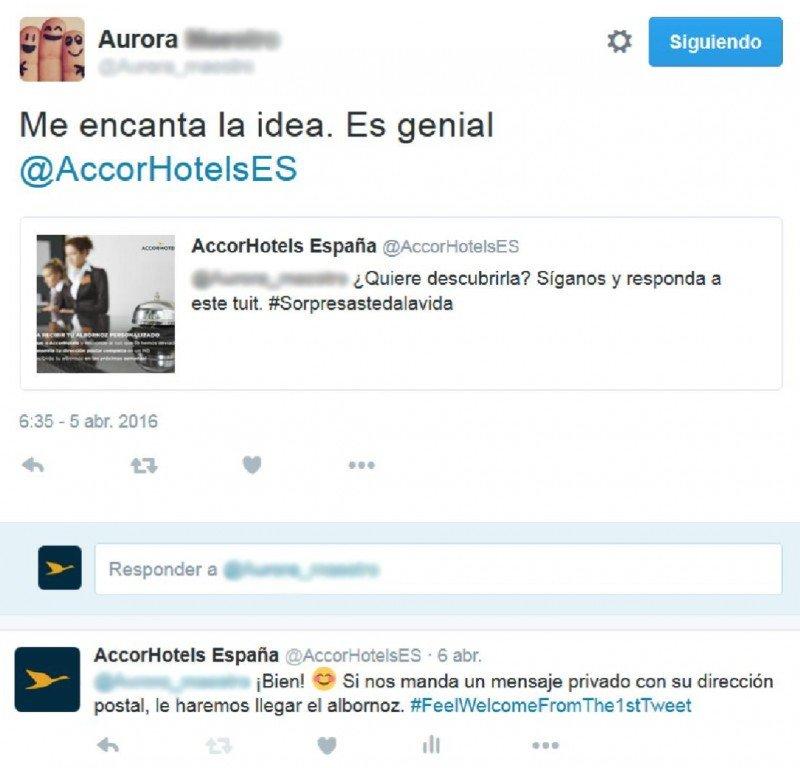 Ejemplo de intercambio de tuits en el marco de la campaña de AccorHotels.