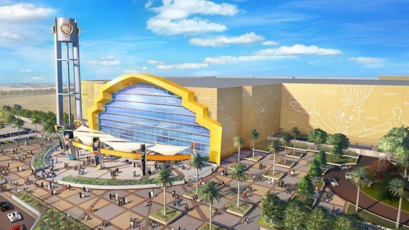 Recreación virtual de la entrada del futuro parque temático Warner Bross en Abu Dhabi