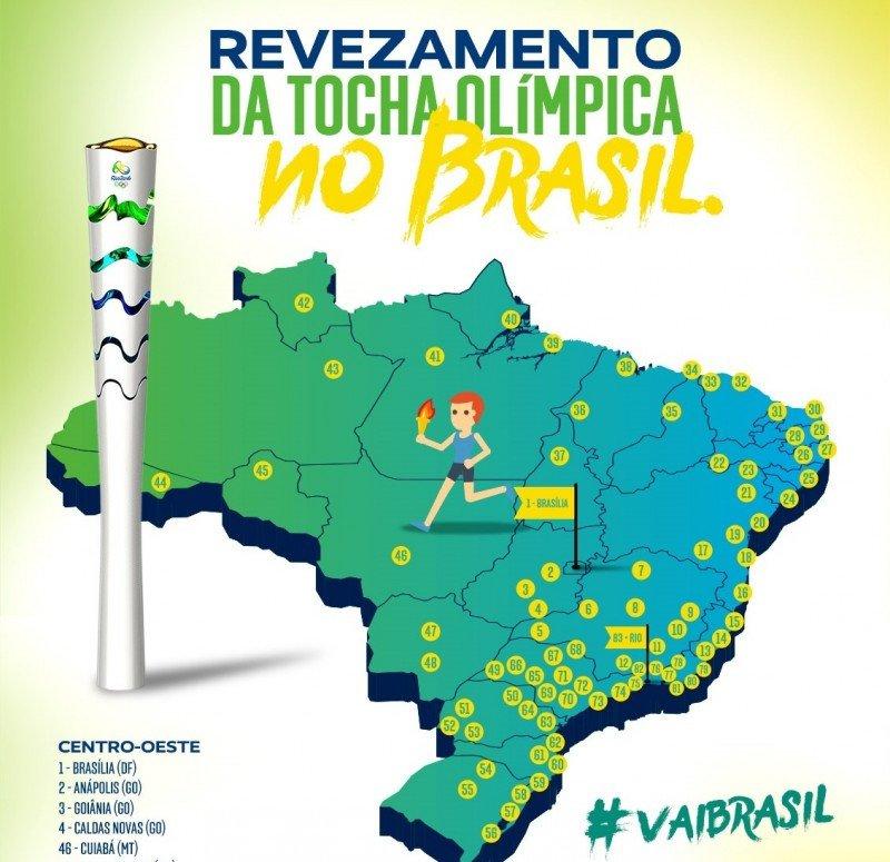 La antorcha olímpica pasará por 335 ciudades de Brasil antes de llegar a Río de Janeiro, donde comenzarán los JJOO el próximo 5 de agosto.