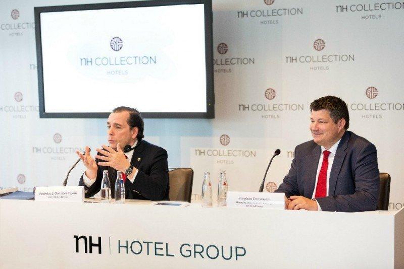 De izq. a dcha, Federico González Tejera y Stephan Demmerle, CEO y director general de NH Hotel Group en Centroeuropa, respectivamente, en la rueda de prensa celebrada en el NH Collection Berlín Friedrichstrasse.
