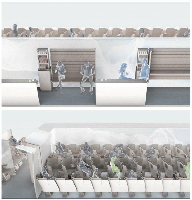 El futuro de la aviación: con el novedoso concepto Lifestyle, en vez de clases, las cabinas tendrán áreas -de dormir, reunirse, comer-.