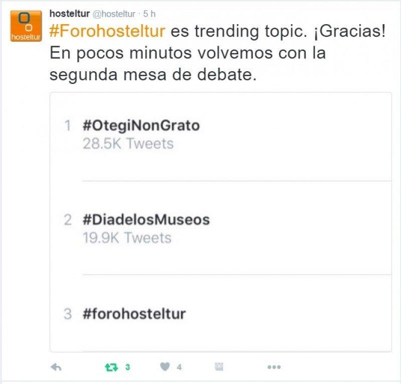 Gracias a los tuiteros que seguían el hashtag #forohosteltur y publicaban contenidos, conseguimos situarnos en el top de los Trending Topic del día.