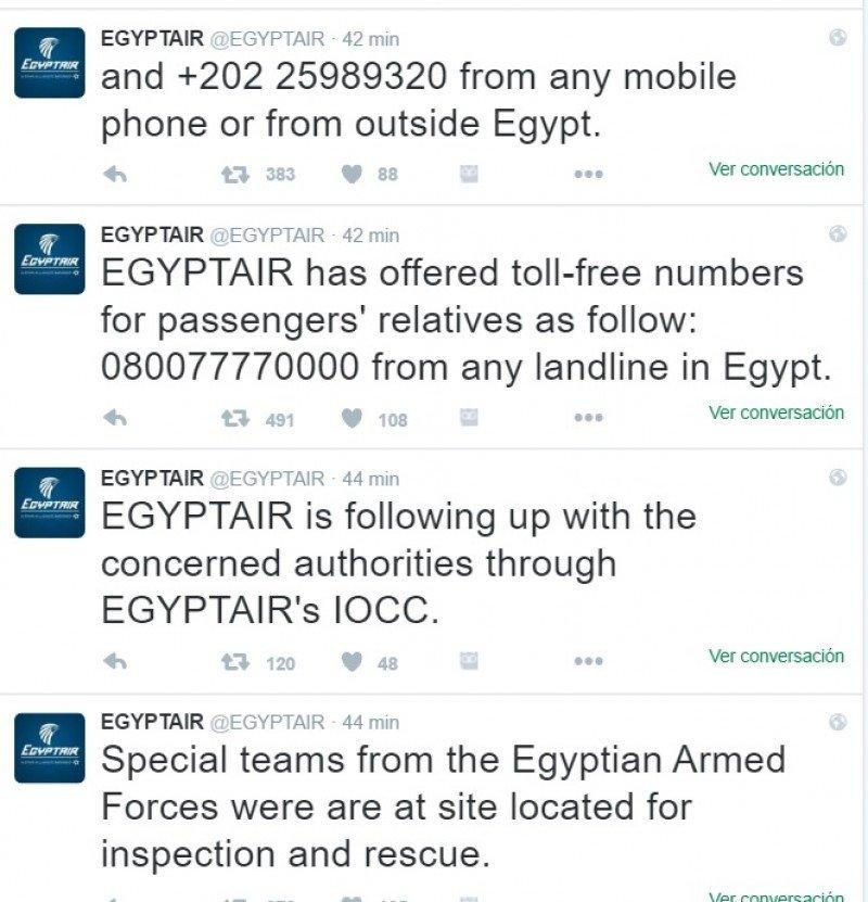 La compañía egipcia ofrece información a través de su perfil de Twitter @EGYPTAIR.