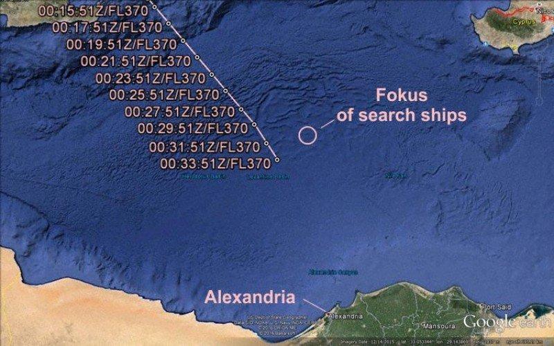 Mapa y trayectoria de vuelo basado en las señales del transpondedor Modo-S (Gráficos: AVH / Google Earth, The Aviation Herald).