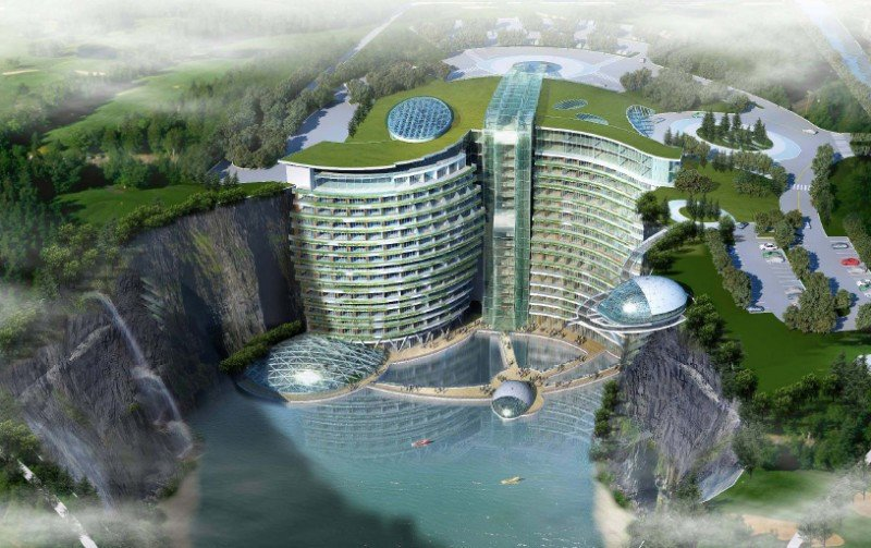 El futuro InterContinental Songjiang Quarry aprovechará su ubicación en una cantera de 90 metros de profundidad para ofrecer la posibilidad de realizar deportes extremos.