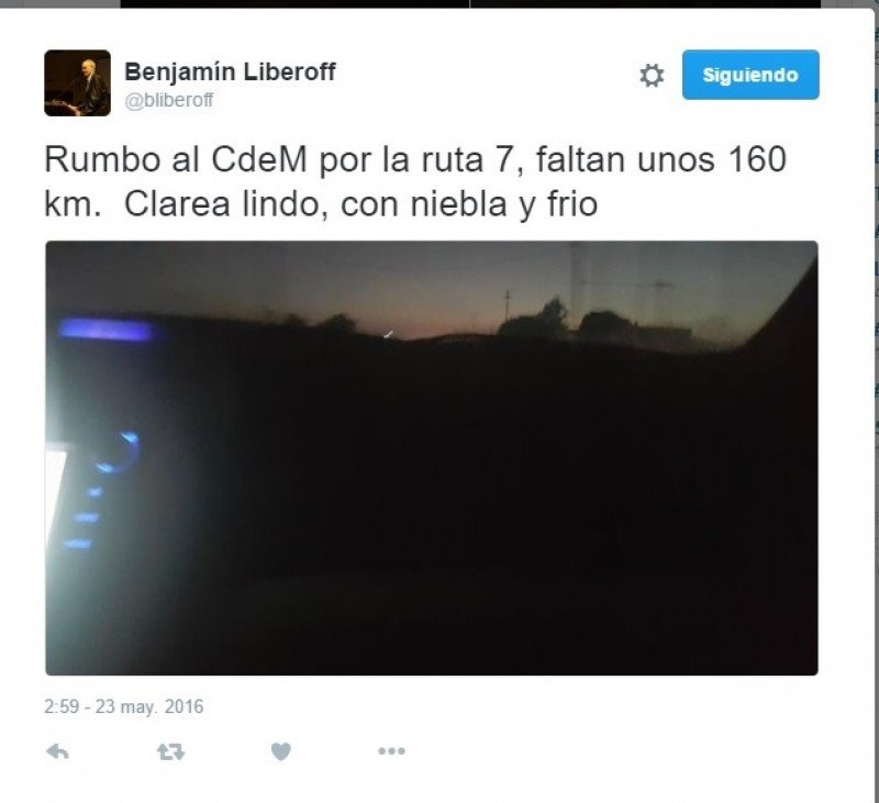 Tuit de Benjamín Liberoff esta mañana, antes del accidente en ruta 7.