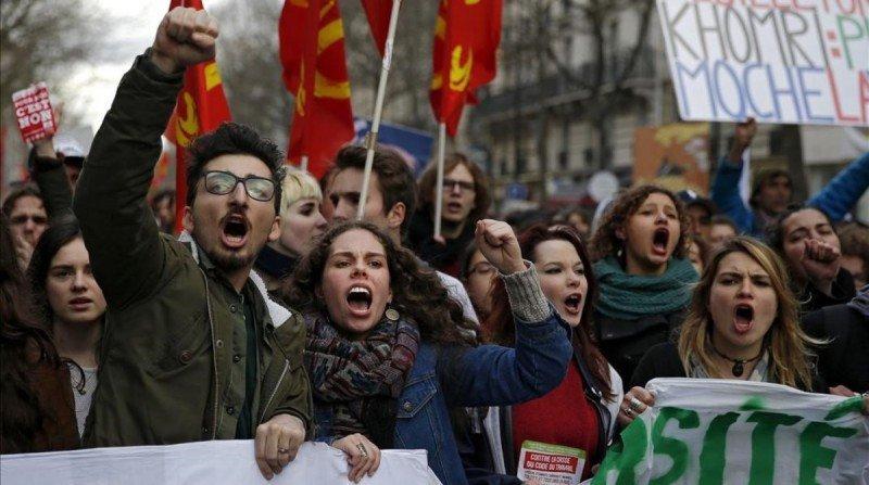 Protestas enlas calles contra la reforma laboral (imágenes de archivo de una anterior jornda de huelga en Francia).