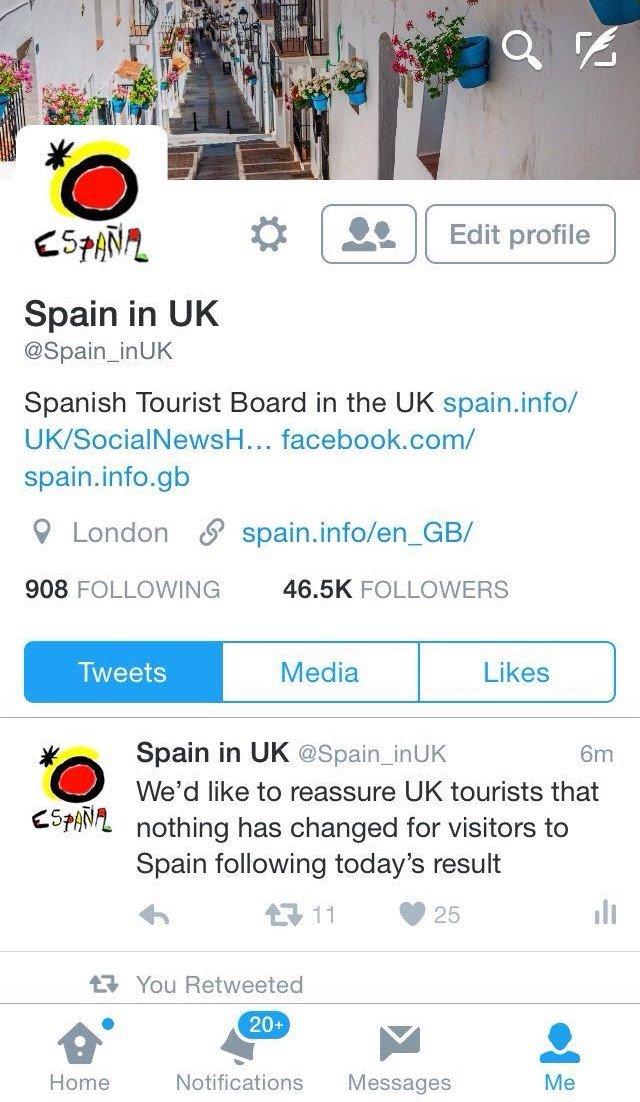 Turespaña lanza un mensaje de tranquilidad a los turistas británicos