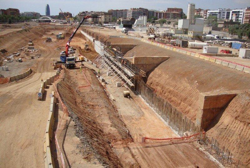 Inicio de las obras de la Estación La Sagrera, actualmente paralizadas.