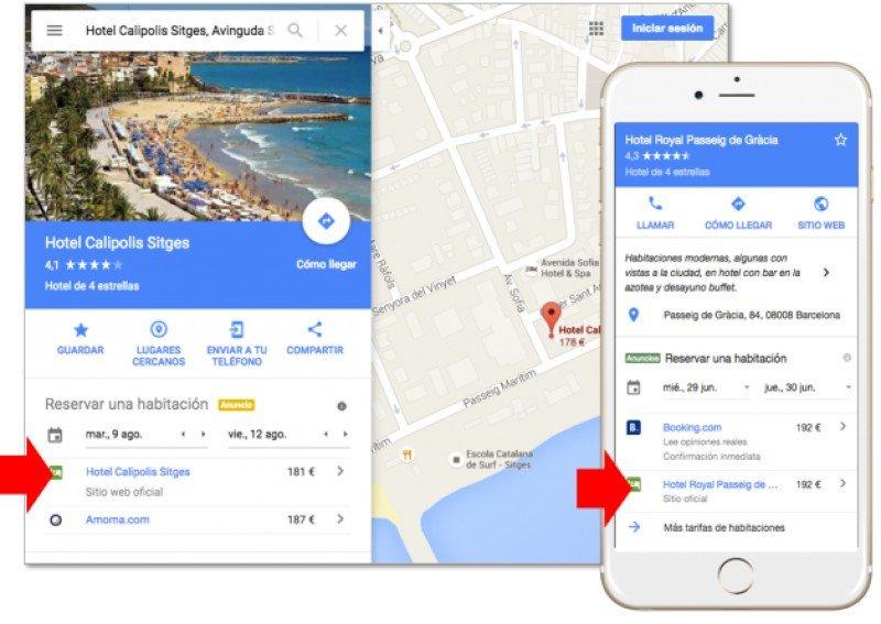 Google distribuye en su buscador, sus mapas y el nuevo Google Destinations su plataforma de inventario y precios en tiempo real, Google Hotel Ads.