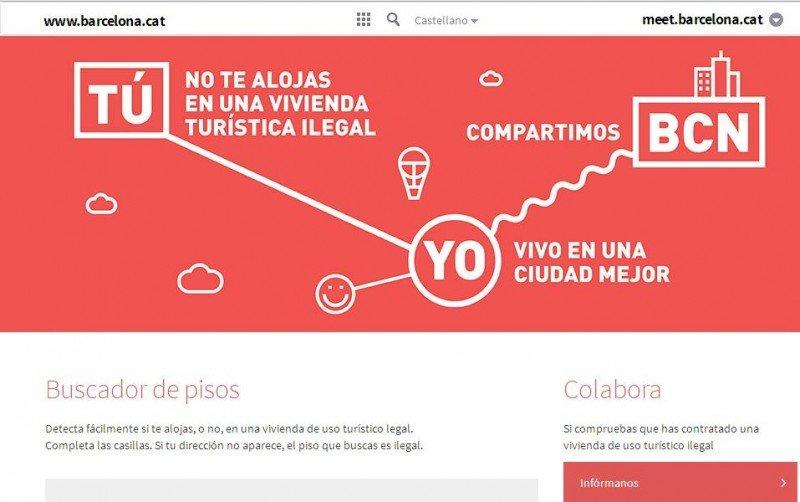 Imagen del buscador de viviendas turísticas legalizadas lanzado por el Ayuntamiento de Barcelona.