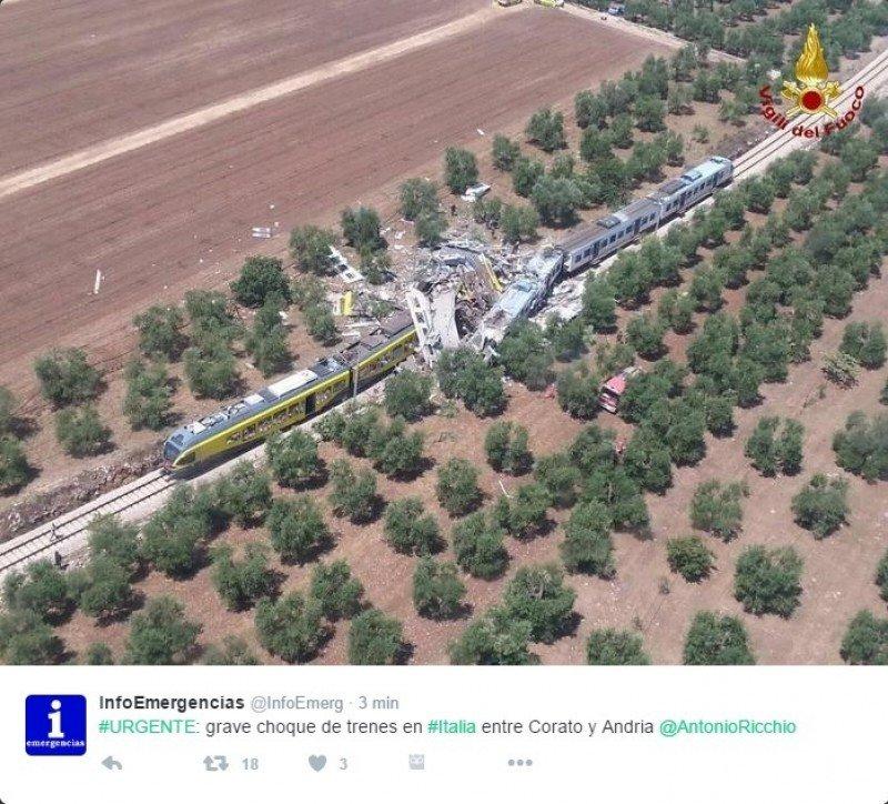 Choque frontal de trenes en Italia deja al menos cuatro muertos (vídeo)