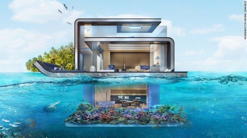 Uno de los tres pisos de las villas está sumergido y dispone de dos ventanales que ofrecen espectaculares vistas de la vida marina.