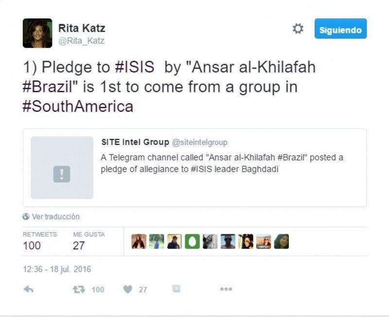 Brasileños juran lealtad al Estado Islámico a un mes de los JJOO