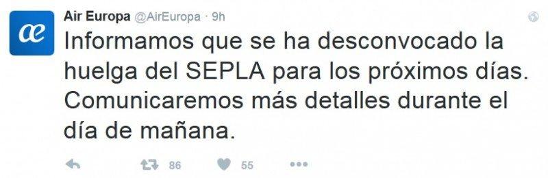 Air Europa informó, enseguida, tras salir de la reunión con el Sepla, hacia la medianoche, a través de su cuenta de twitter.