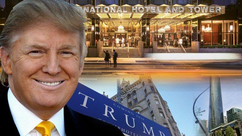 Ilustración de portada del reportaje de Travel Weekly sobre el hotelero/candidato Trump.