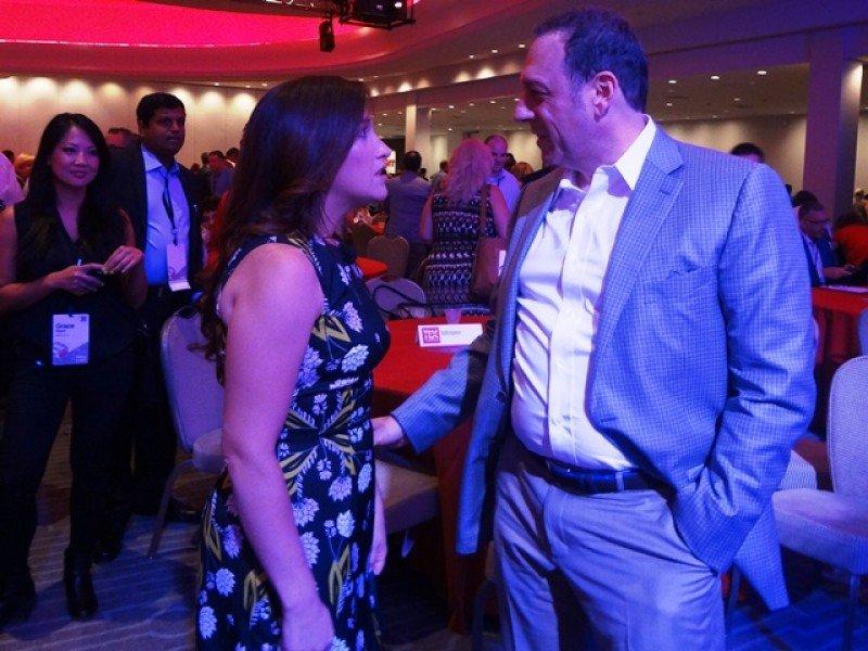 Tom Klein junto a la ex Facebook Randi Zuckerberg, los dos conferencistas principales del TTX 2016 en Miami.