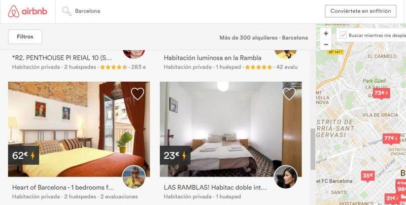 Imagen extraída de la web de Airbnb, plataforma que ya comercializa habitaciones individuales en viviendas, pese a que la normativa de la Generalitat de momento sólo autoriza el alquiler completo de viviendas de uso turístico que estén debidamente registradas. Debido a ello, Airbnb y otras plataformas han sido sancionadas por la Generalitat.