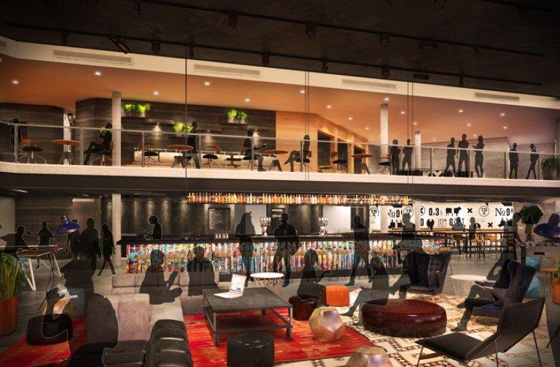 El lobby del hotel Sir Adam en Amsterdam, cuya apertura está prevista para otoño, ejercerá de hub cultural en las antiguas oficinas centrales de Shell. Imagen: ICRAVE.