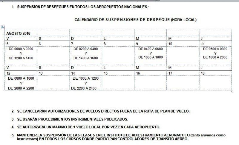 Calendario de paros de controladores hasta el domingo 14 de agosto.
